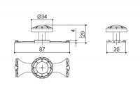 Ручка-кнопка d.34 с накладкой 30х88 мм