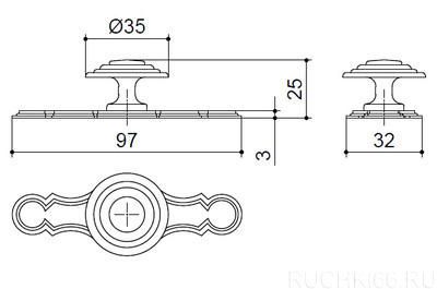 Ручка-кнопка d.35 с накладкой 32х96 мм